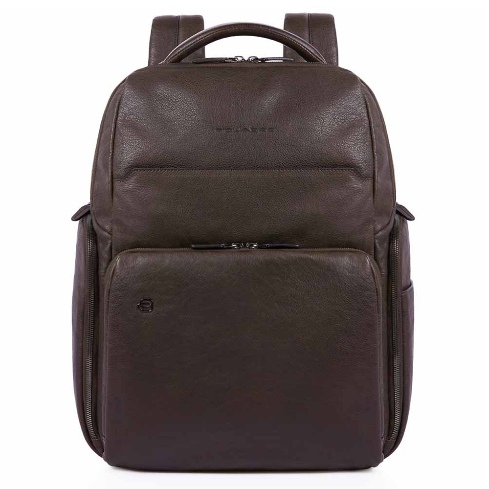 Piquadro Black Square Computer iPad Backpack RFID Dark Brown