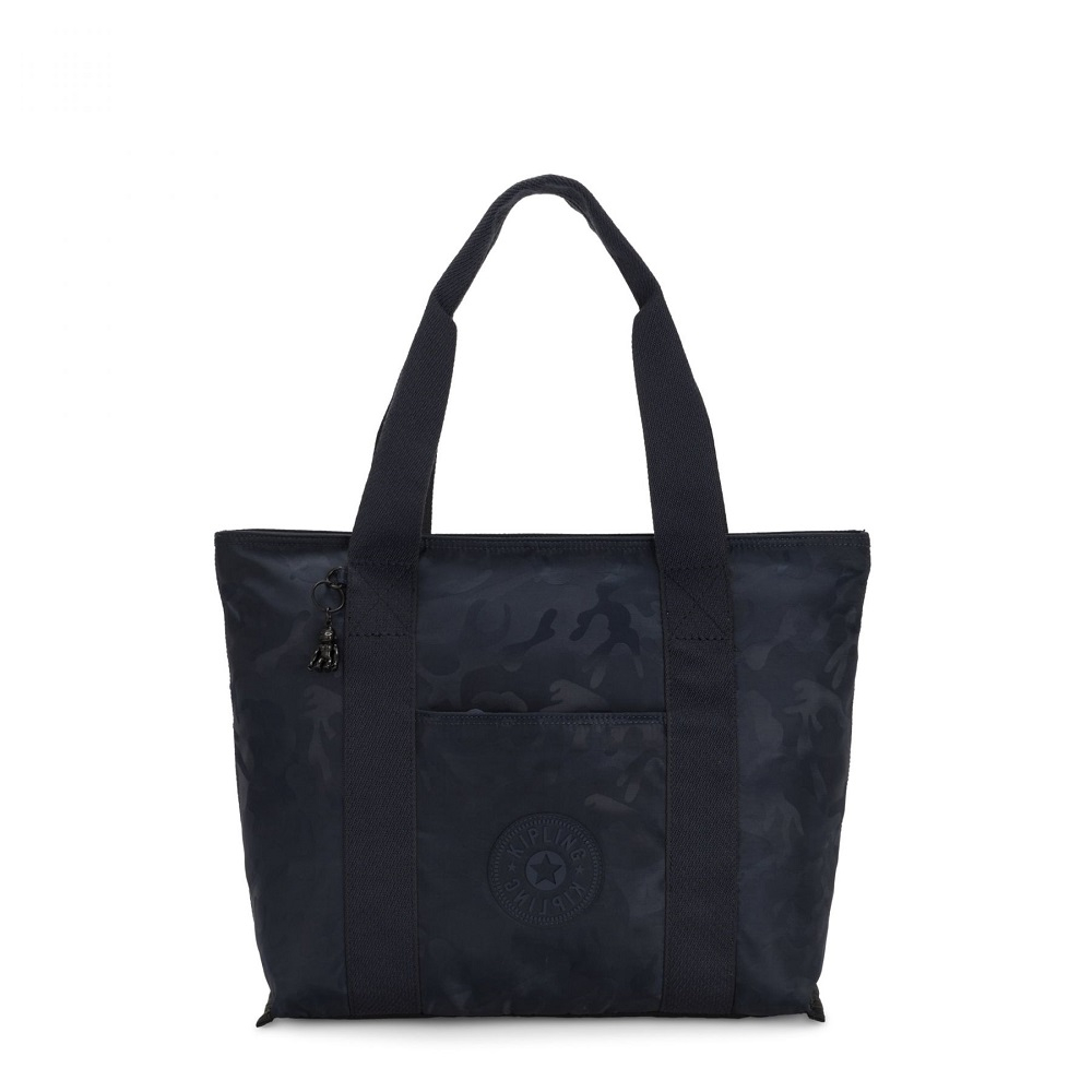 Kipling Era Medium Shopper Tote Satin Camo Blue