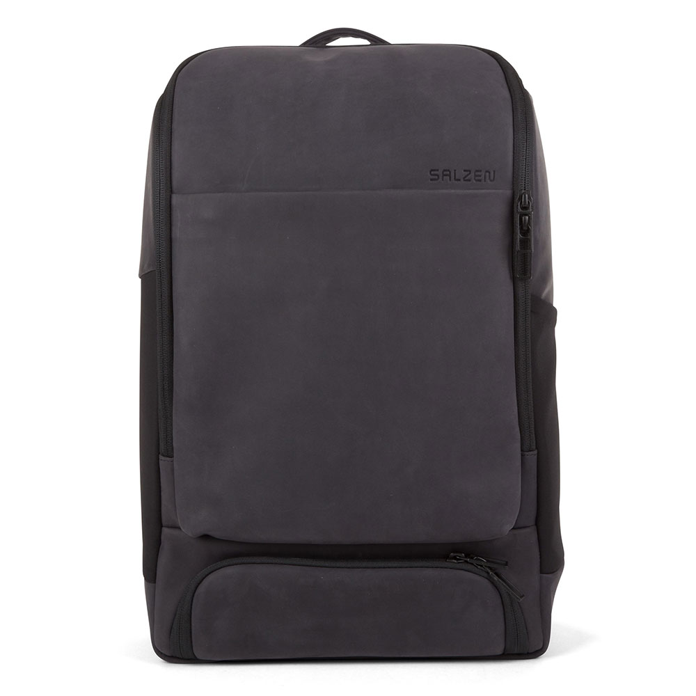 Salzen Sleek Line Leather Alpha Backpack Charcoal Black