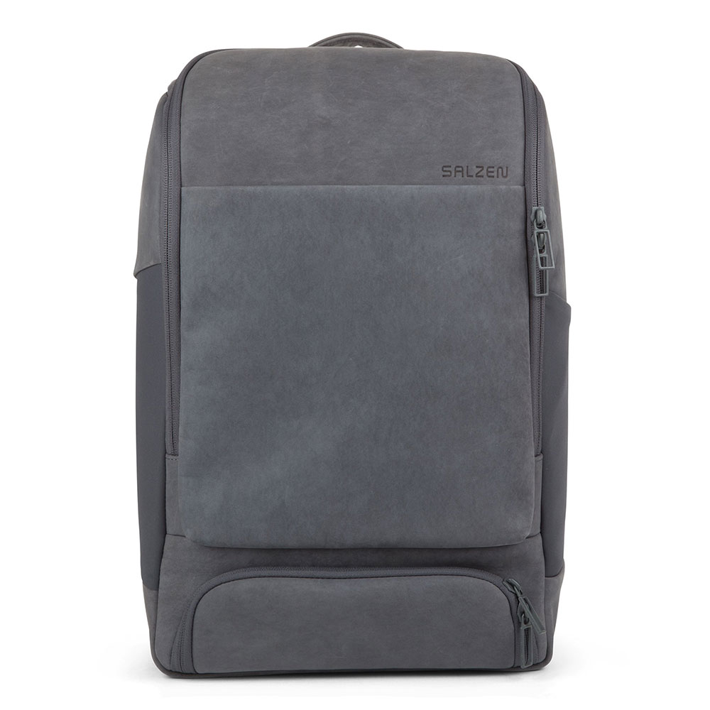 Salzen Sleek Line Leather Alpha Backpack Slate Grey
