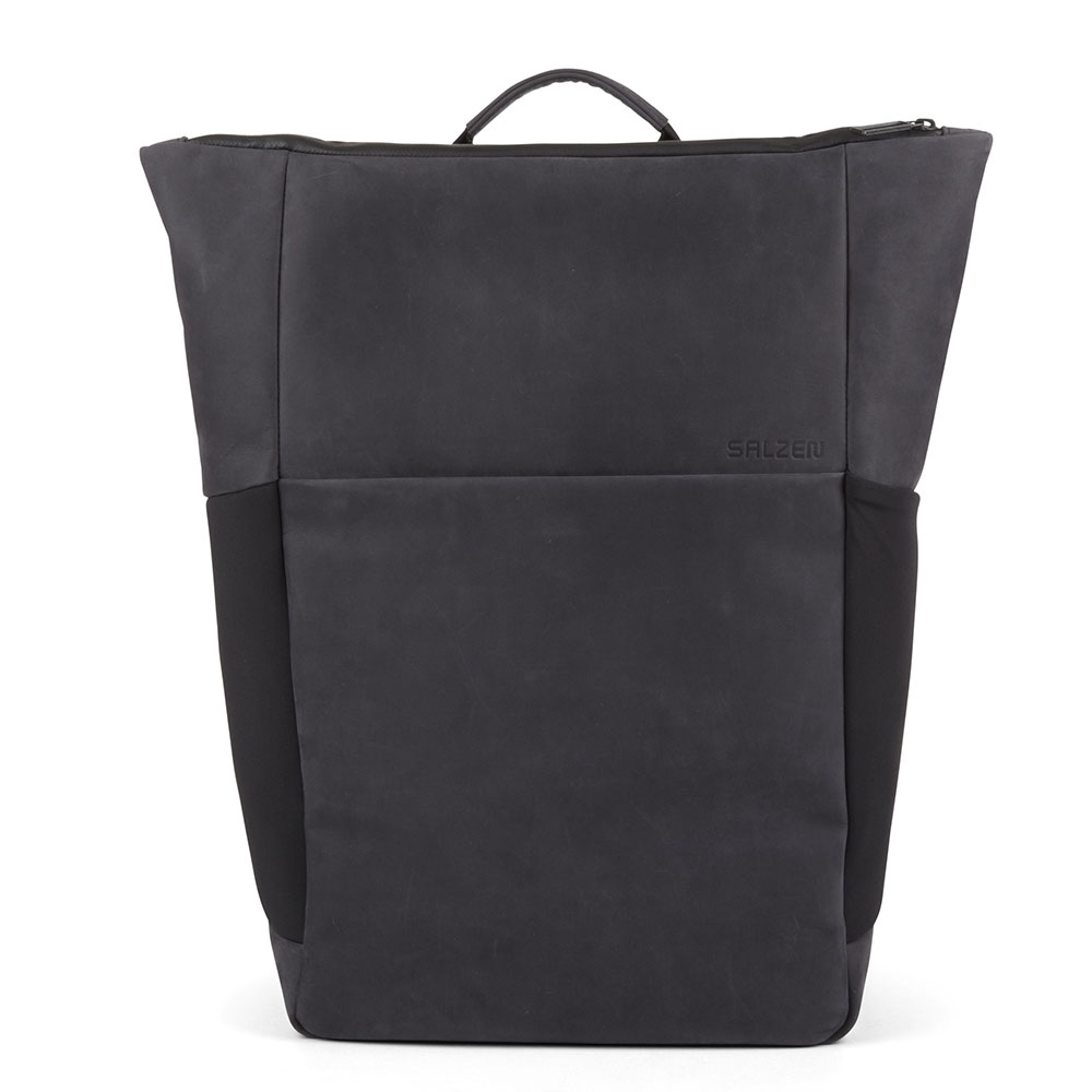 Salzen Sleek Line Leather Plain Backpack Charcoal Black