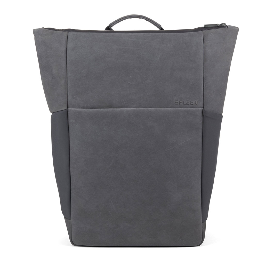 Salzen Sleek Line Leather Plain Backpack Slate Grey