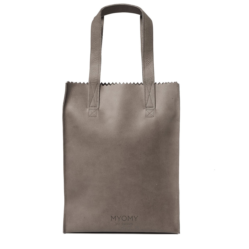 Myomy Paper Bag Long Handle Zip taupe
