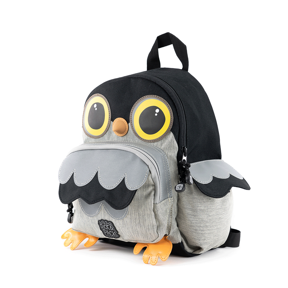 Pick & Pack Fun Rugzak S Owl Shape Grey Melange