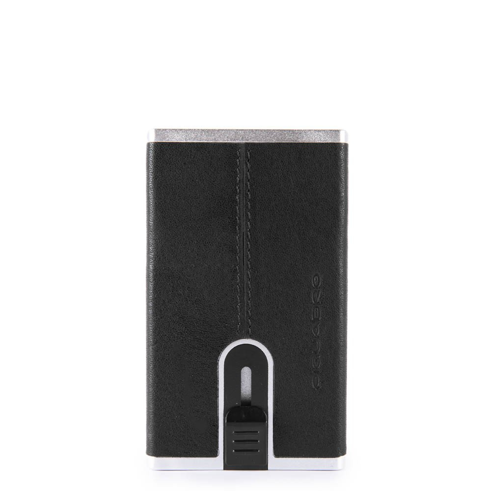 Piquadro Black Square Creditcard Case With Sliding System Black