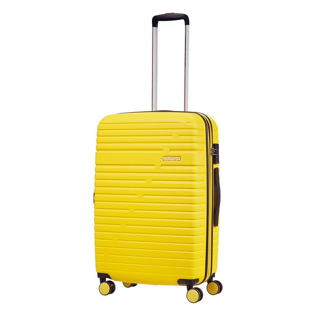 Afbeelding van American Tourister Aero Racer Spinner 68 Expandable Lemon Yellow Harde Koffers