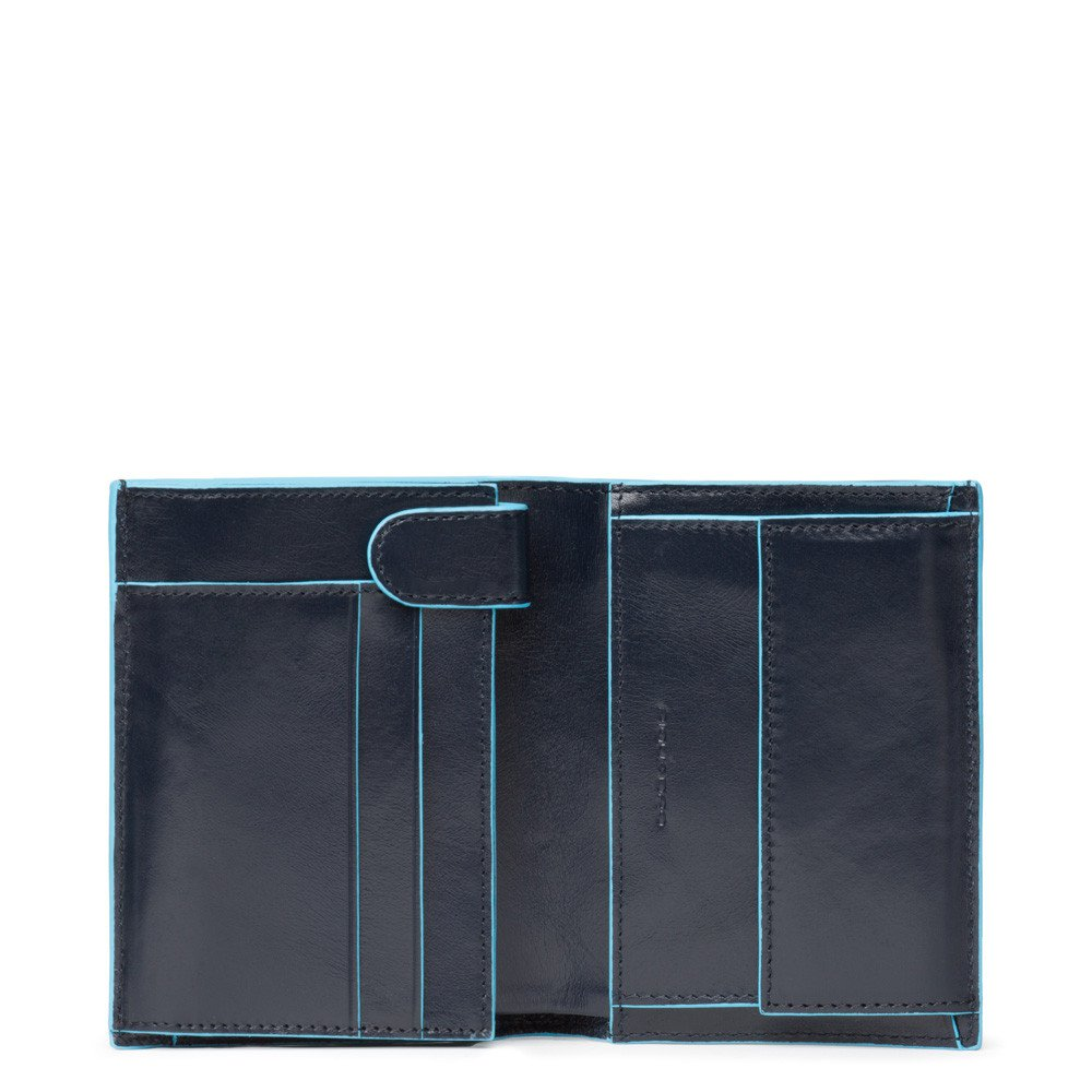 Piquadro Blue Square Vertical Wallet 10 Cards With Coin Case Night Blue
