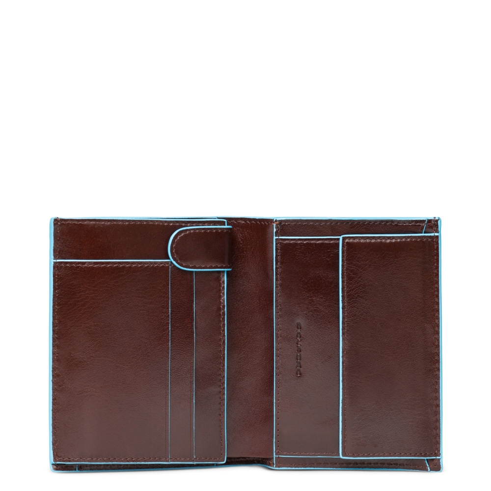 Piquadro Blue Square Vertical Wallet 10 Cards With Coin Case Mahogany