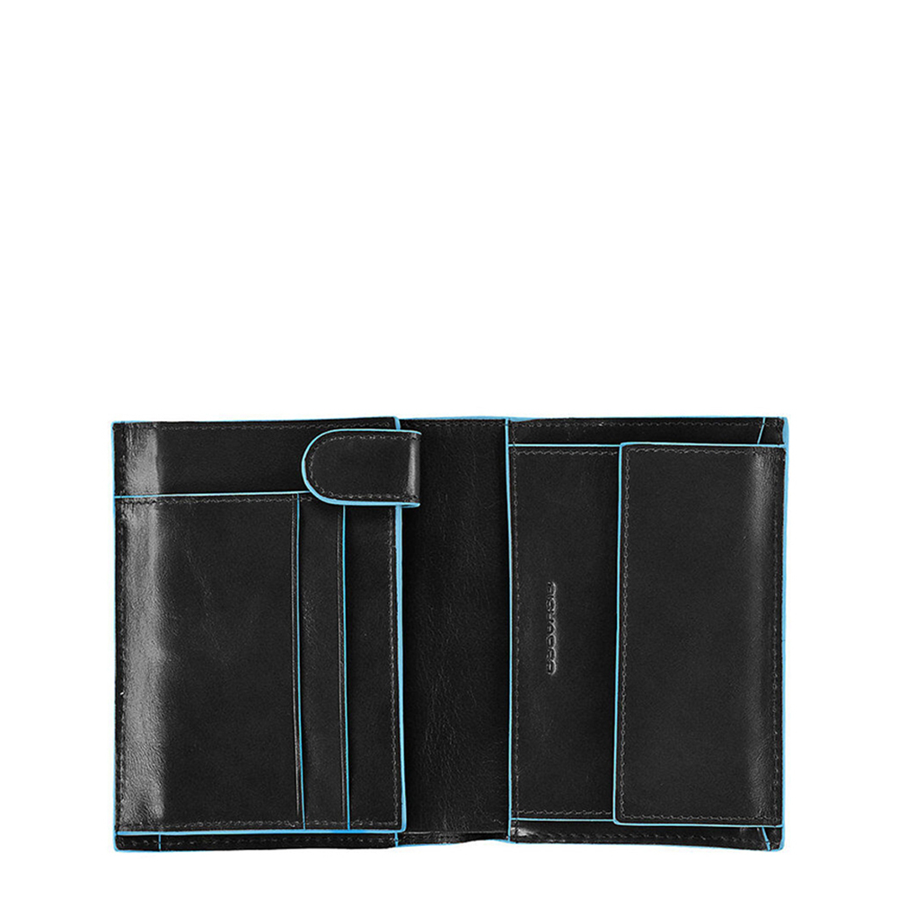 Piquadro Blue Square Vertical Wallet 10 Cards With Coin Case Black