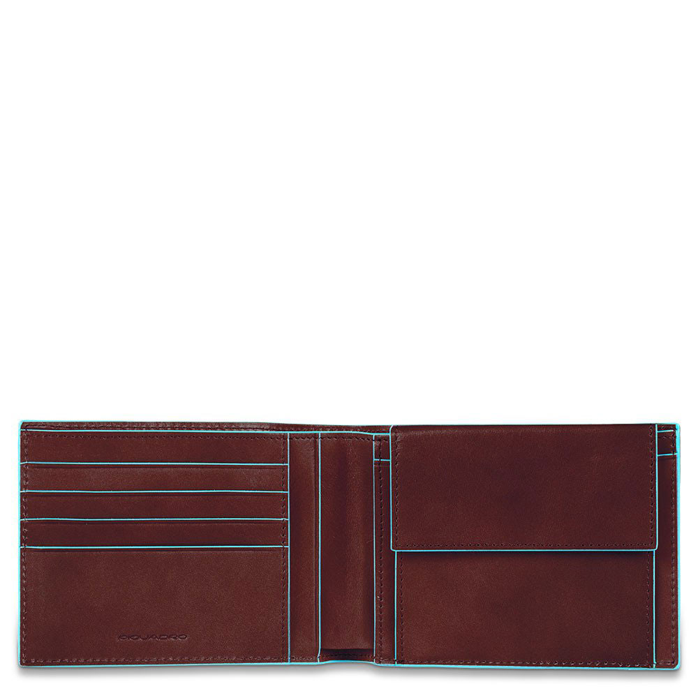 Piquadro Blue Square Men's Wallet With Coin Pocket Mahogany