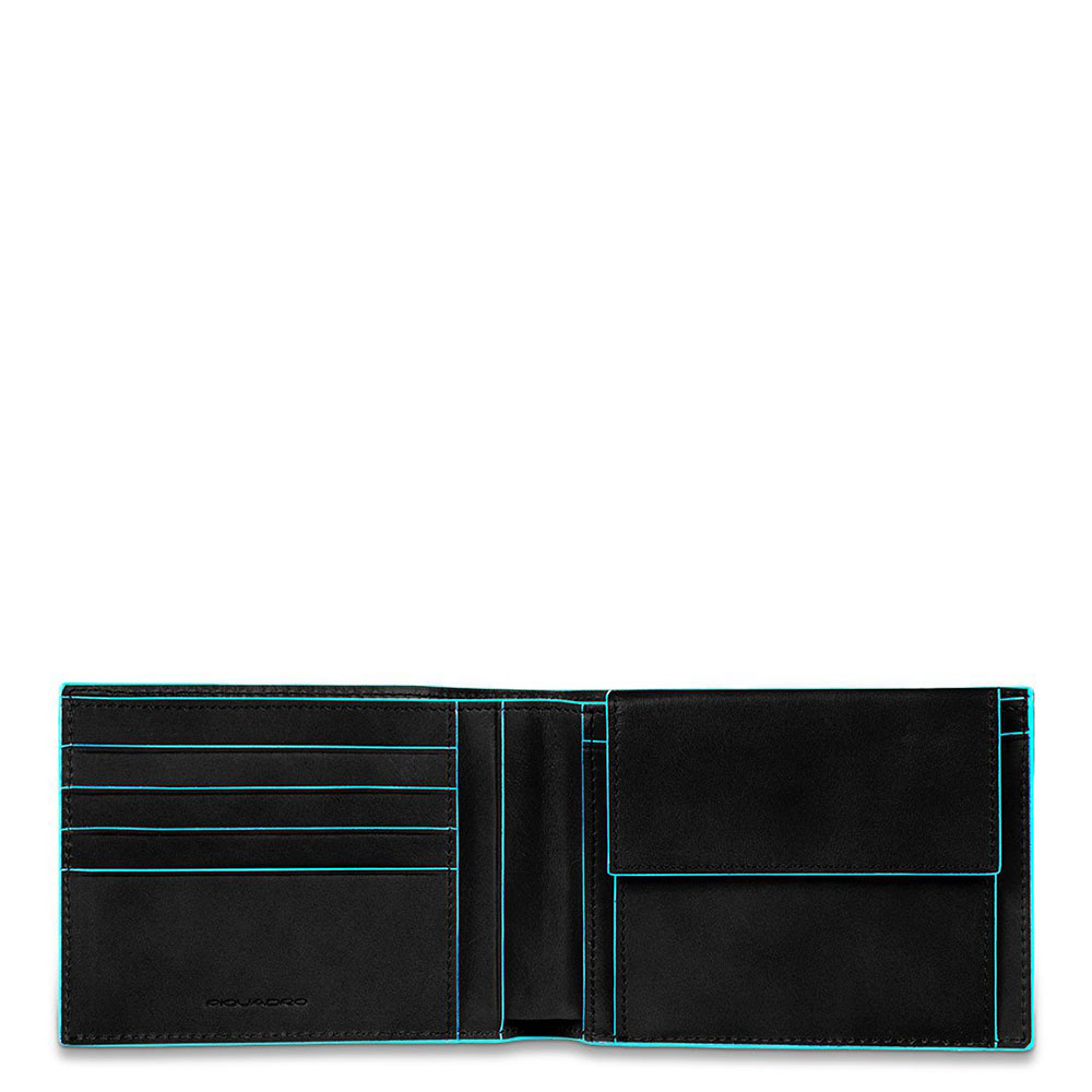 Piquadro Blue Square Men's Wallet With Coin Pocket Black
