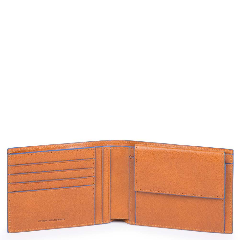 Piquadro Blue Square S Matte Men's Wallet With Coin Pocket Tobacco