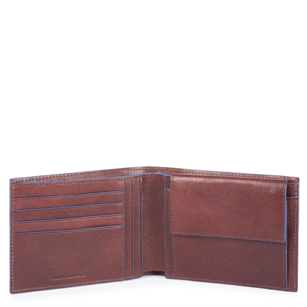 Piquadro Blue Square S Matte Men's Wallet With Coin Pocket RFID Dark Brown