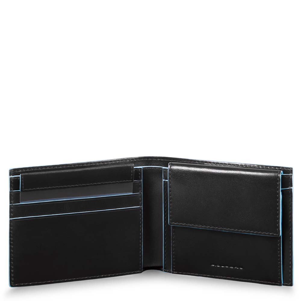 Piquadro Blue Square Men's Wallet With Coin Case Black