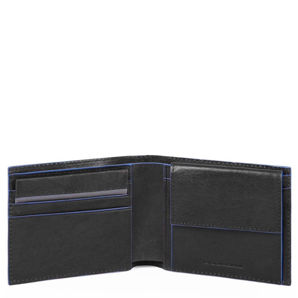 Piquadro Blue Square S Matte Men's Wallet With Coin Pocket Black