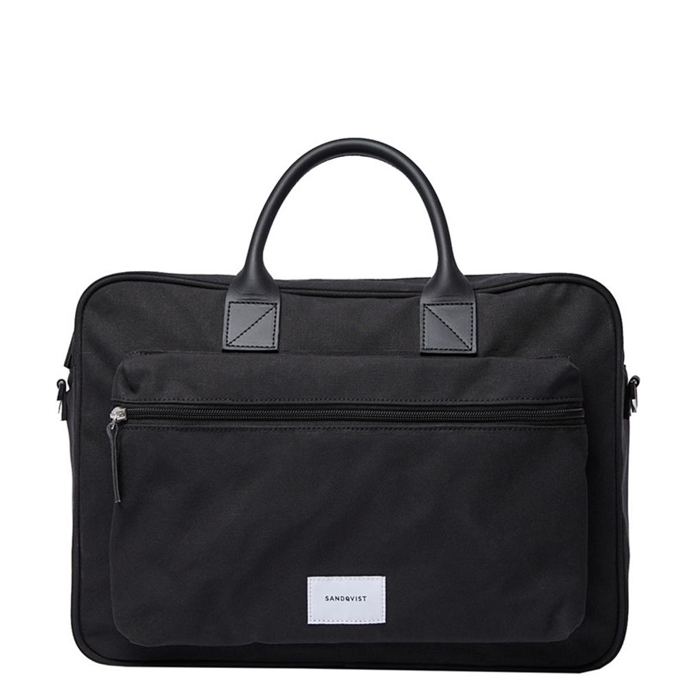 Sandqvist Emil Briefcase Laptop Bag Black/Black Leather