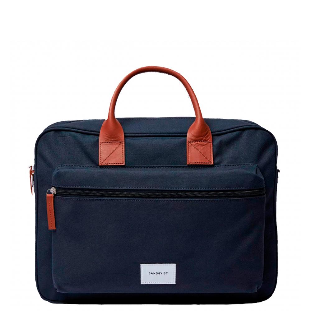 Sandqvist Emil Briefcase Laptop Bag Navy/Cognac Leather