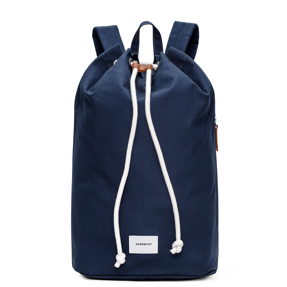 Sandqvist Evert Bucket Backpack Navy/Cognac