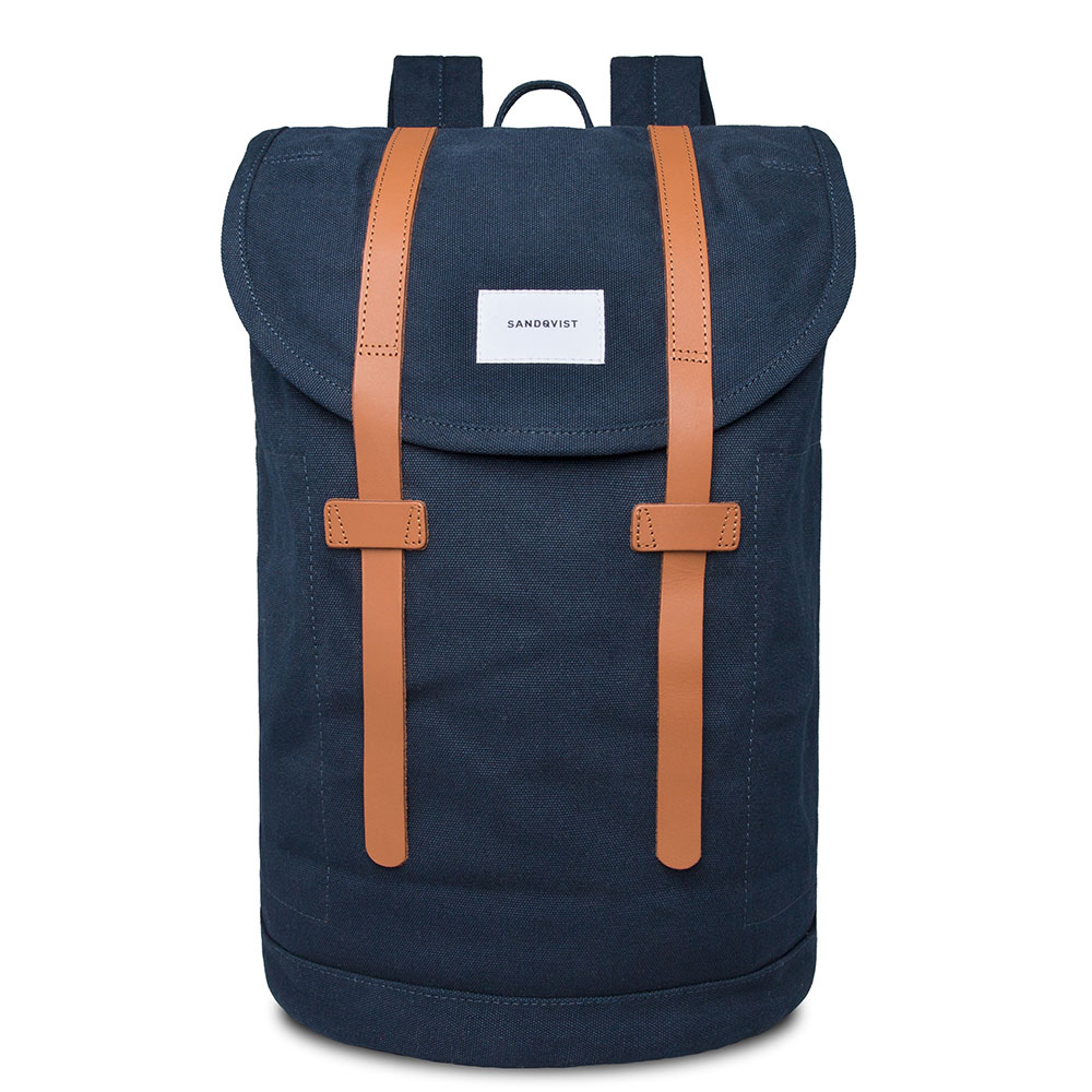 Sandqvist Stig Large Backpack Navy Blue/Cognac