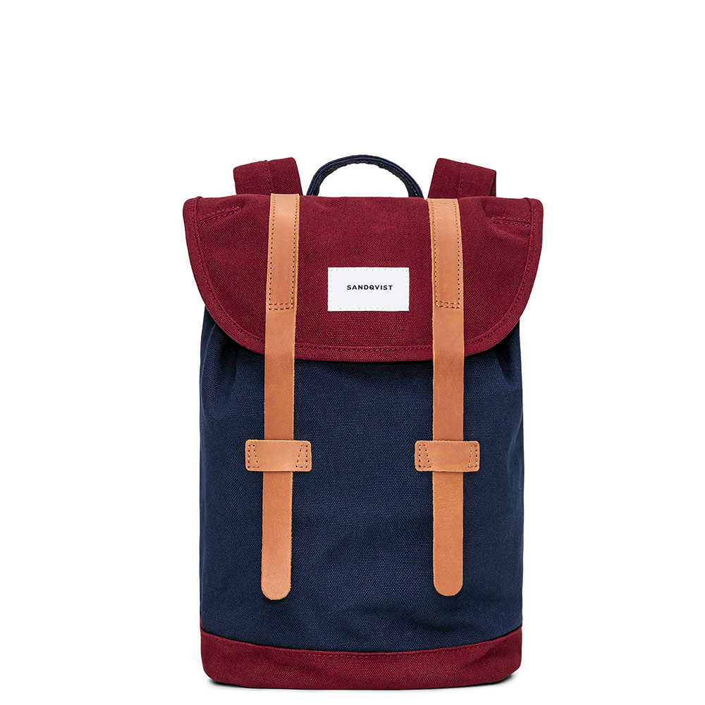 Sandqvist Stig Small Backpack Multi Blue Burgundy/Cognac