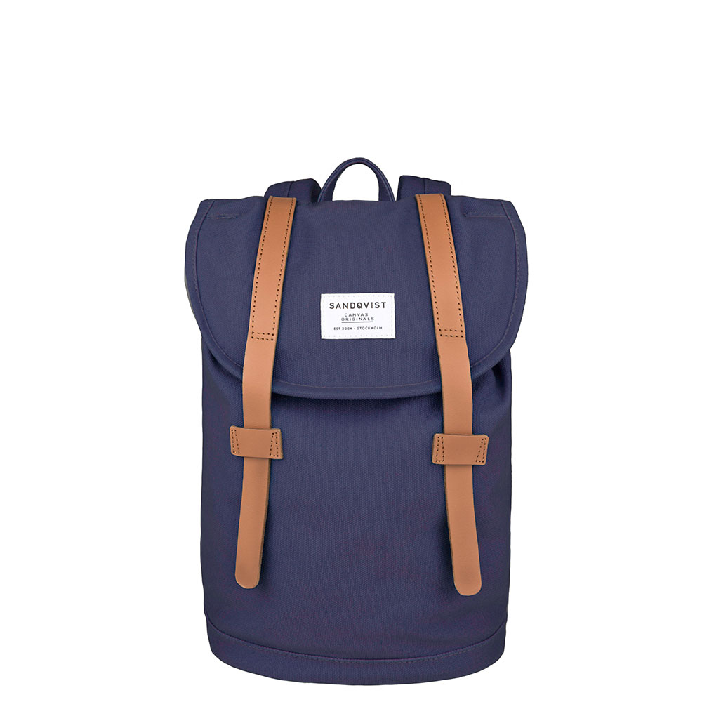 Sandqvist Stig Small Backpack Blue/Cognac