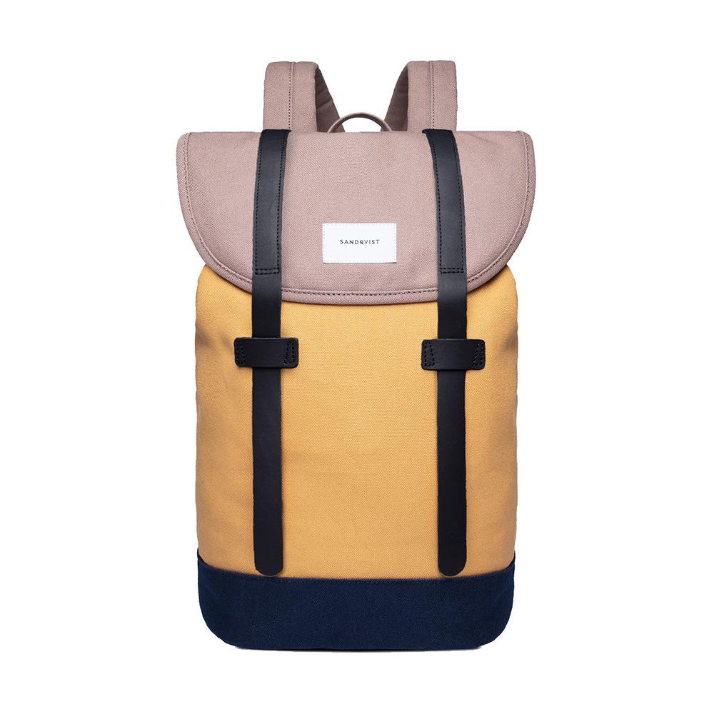 Sandqvist Stig Backpack Multi Earth Brown/Honey Yellow/Navy