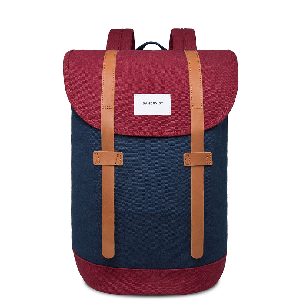 Sandqvist Stig Backpack Multi Blue Burgundy/Black
