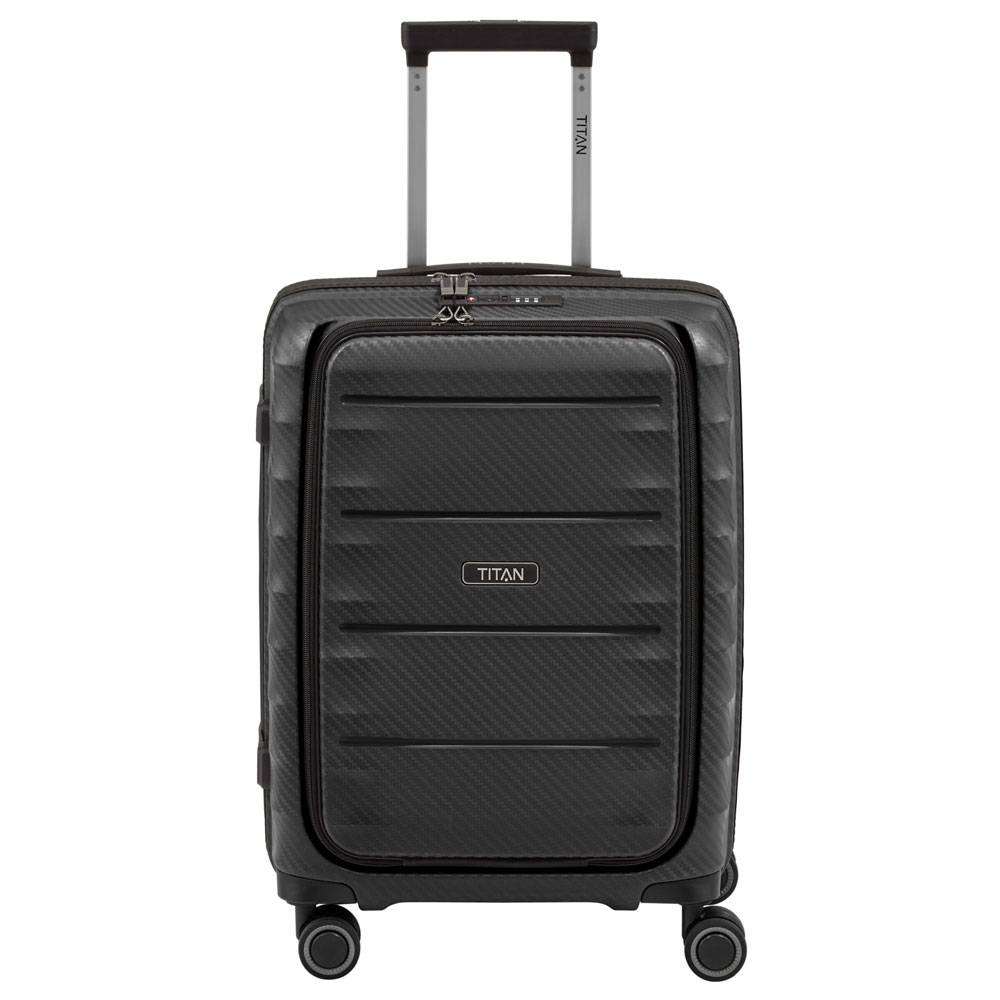 Titan Highlight 4 Wheel Business Trolley S Front Pocket Black