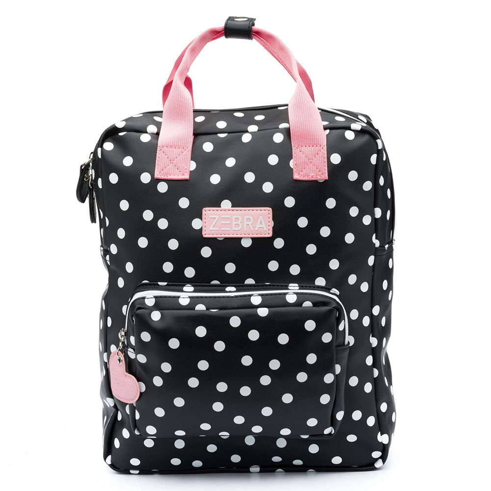 Zebra Rugzak: Zebra Trends Girls Rugzak L Dots Black