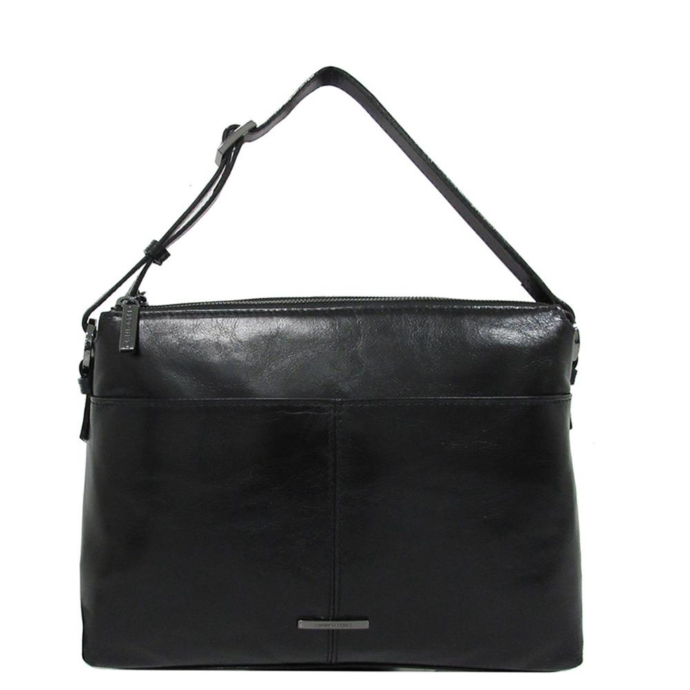 Claudio Ferrici Pelle Vecchia Flat Zipbag Large Schoudertas Black