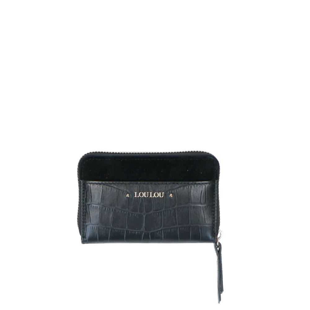 LouLou Essentiels Classy Croc Wallet XS black Dames portemonnee