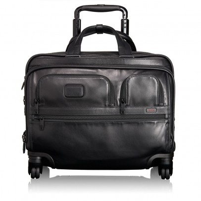 Tumi Alpha Compact Wheeled Briefcase Black