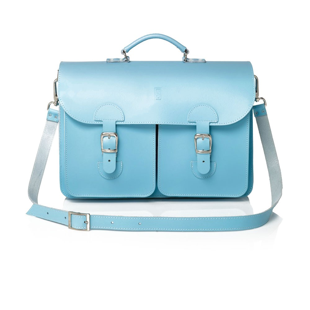 Schoudertassen school leer : Oldschool bags schooltas extra large baby blauw