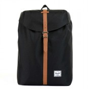 Herschel Post Mid-Volume Rugzak Black/ Tan Synthetic Leather