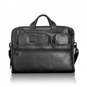 Tumi Alpha 2 Business Leather Compact Large Screen Computer Brief Black