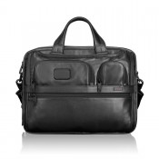 Tumi Alpha 2 Business Leather Organizer Computer Brief Expandable Black