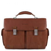 "Piquadro Black Square Computer Briefcase 15.6"" Tobacco"