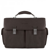 "Piquadro Black Square Computer Briefcase 15.6"" Dark Brown"