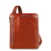 """Piquadro Blue Square Shoulder Pocket Bag 10"""" Orange"""