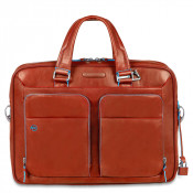 "Piquadro Blue Square Portfolio Computer Briefcase 14"" Orange"