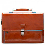 "Piquadro Blue Square Expandable Computer Portfolio Briefcase 15"" Orange"