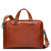 "Piquadro Blue Square Double Handle Computer Portfolio Briefcase 14"" Orange"