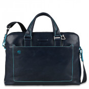 "Piquadro Blue Square Double Handle Computer Portfolio Briefcase 14"" Night Blue"