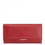 Samsonite Lady Saffiano II SLG Lady Wallet 14CC Zip Coin Rubin Red