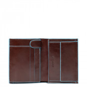 Piquadro Blue Square Vertical Wallet 10 Creditcards Mahogany