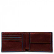 Piquadro Blue Square Men's Wallet 4 Creditcards Mahogany