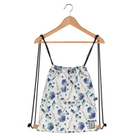 The Pack Society The Gymsack Rugzak Off White Blue Flowers Allover