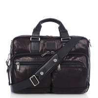 Tumi Alpha Bravo Anderson Slim Commuter Leather Brief Black