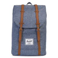 Herschel Retreat Rugzak Dark Chambray Crosshatch/ Tan Syn Leather