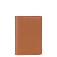 Herschel Raynor Leather Passport Holder RFID Tan Pebbled Leather
